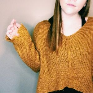 Figwood Sweaters - Vintage Figwood Thin, Mustard Colored Sweater
